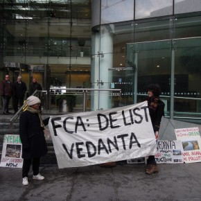"""De-list Vedanta!"" protest at FSA headquarters"