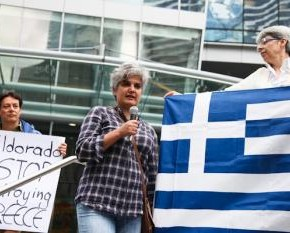 greek-mine protest in Vancouver