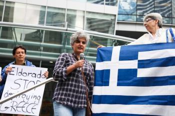 greek-mine protest in Vancouver