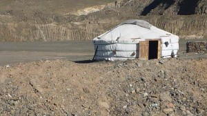 A nomad home and pasture taken over by mining road construction in Khanbogd Sohm