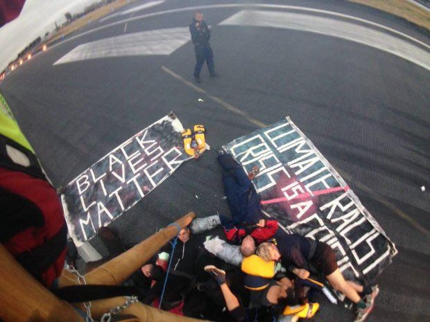 Solidarity with Black Lives Matter UK shutdown at City Airport