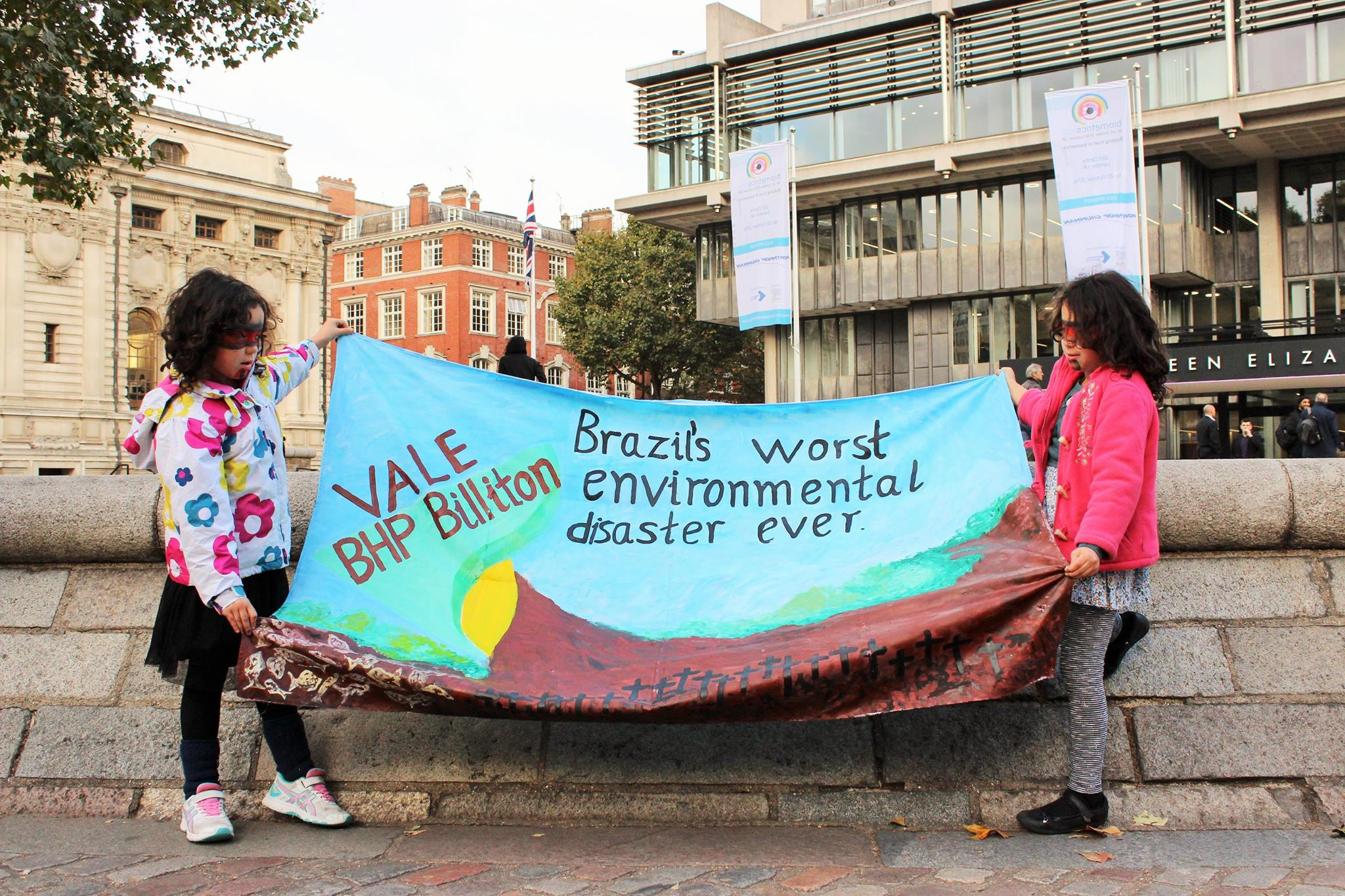 Two young Brazilians protest the BHP Billiton AGM in London. Photo: Jen Wilton