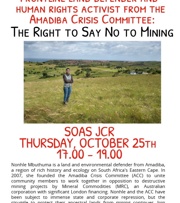 Event with Nonhle Mbuthuma: the right to say no to mining