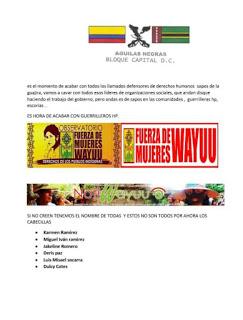 URGENT ACTION: Paramilitary death threats to indigenous critics of Cerrejon mine