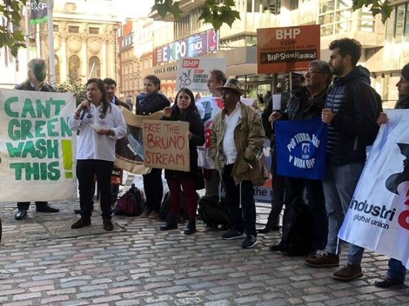 Demonstrators at the 2019 BHP AGM